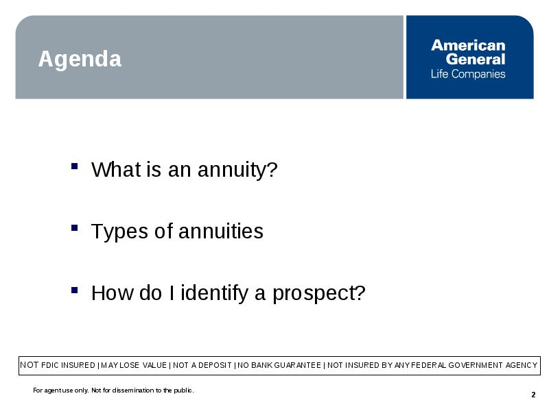 Agenda What Is An Annuity