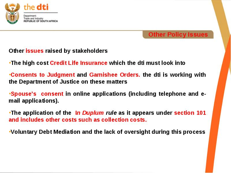 Role and Responsibility of the dti
